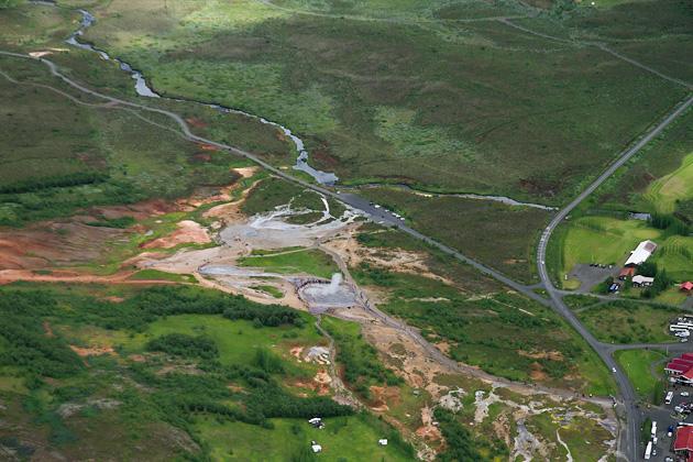 Aerial View Geysir Iceland