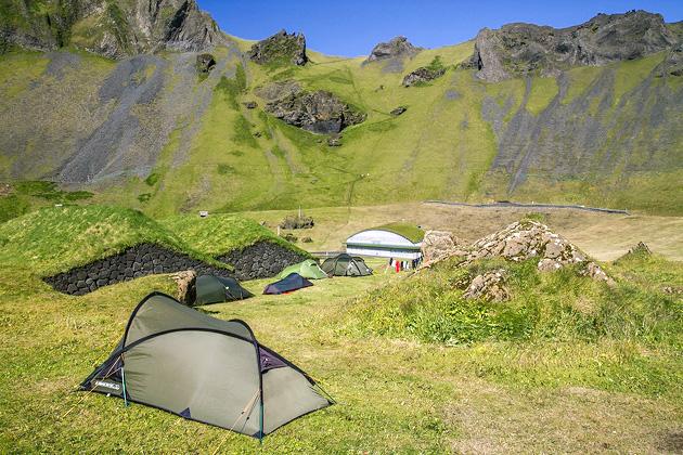 Herjólfsdalur crater Camping