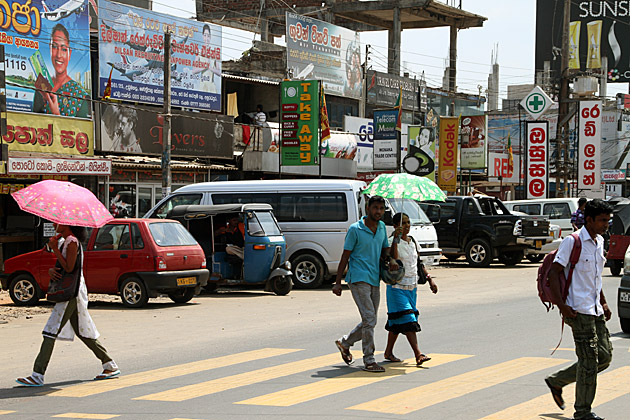 Crossing Street in Sri Lanka