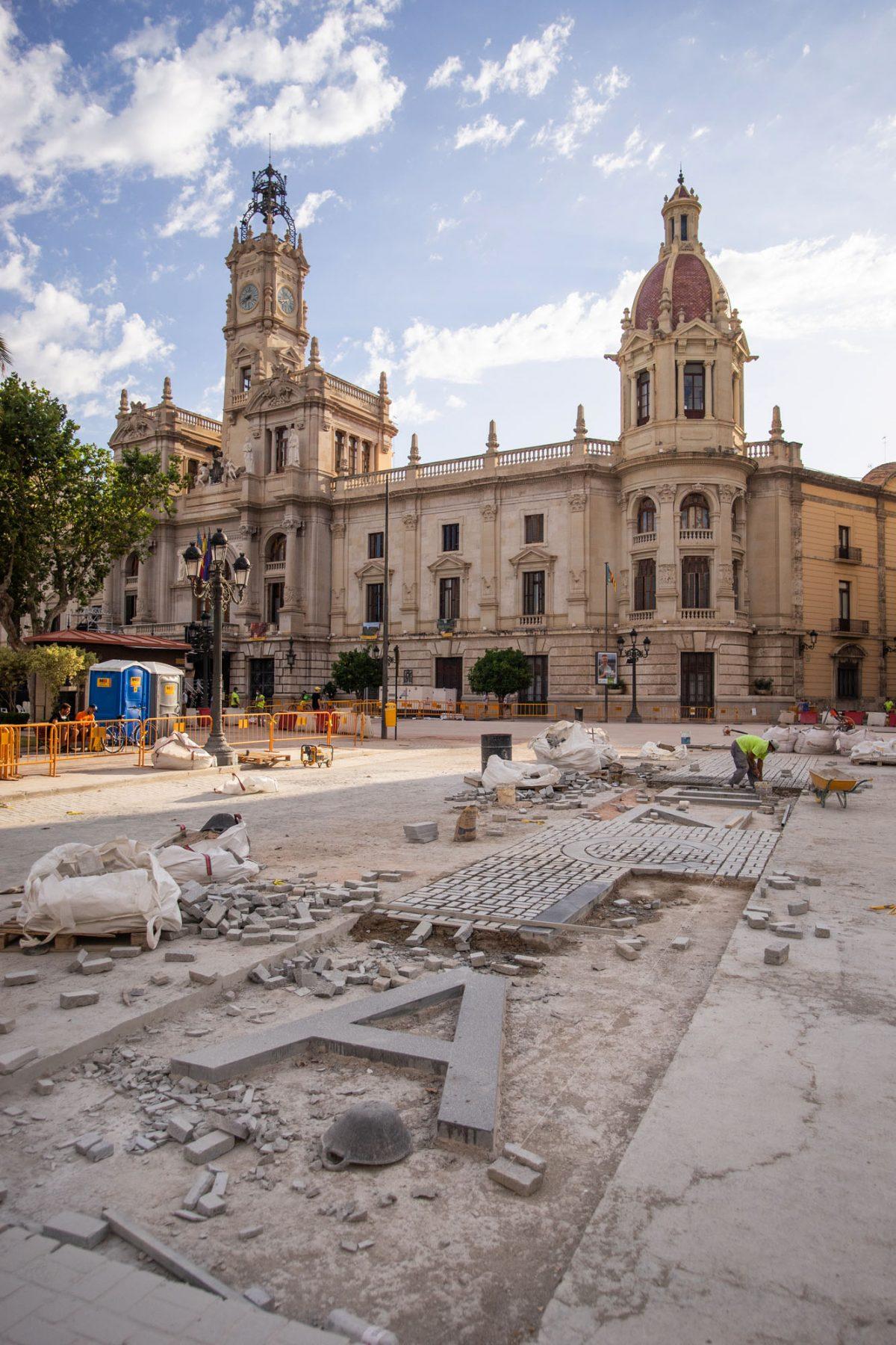 Valencia Name Tag Constructions at Plaza del Ayuntamiento.