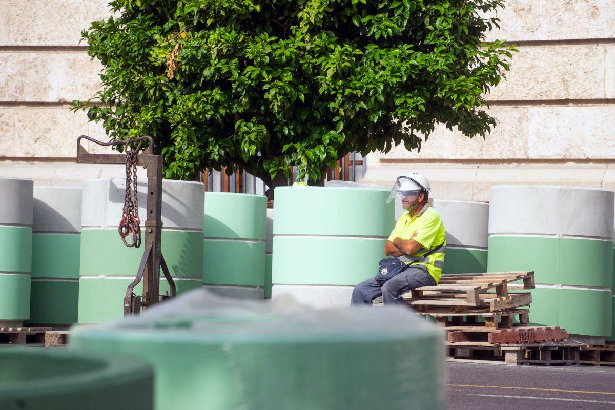 Construction Worker Taking a Break