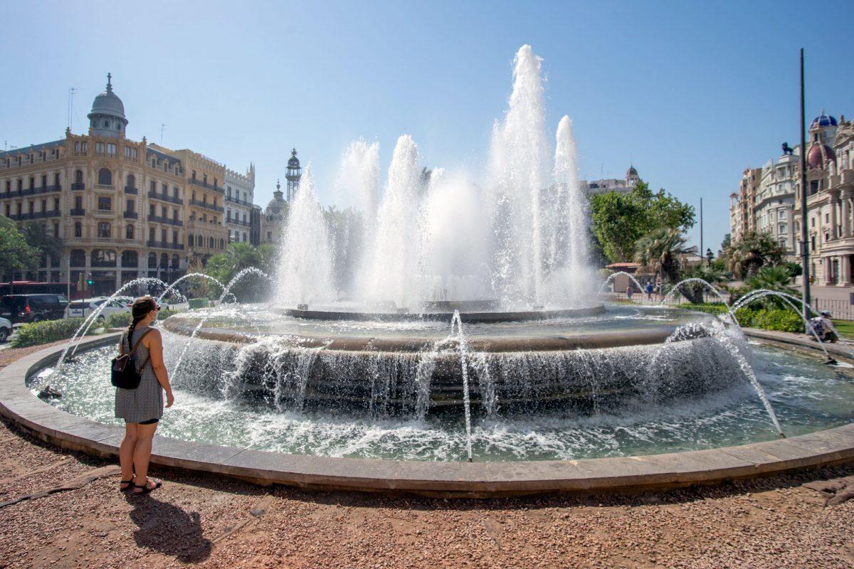 Travel Blogger At Fountain Valencia Spain